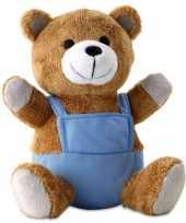 Knuffeldieren beer met blauwe foute kleding