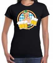 Oktoberfest bierfeest drank fun t-shirt foute kleding zwart met beierse kleuren voor dames